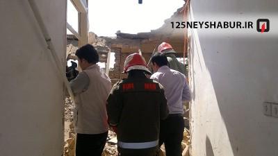 آوار منزل مسکونی در دست تعمیر در نیشابور+(تصاویر)